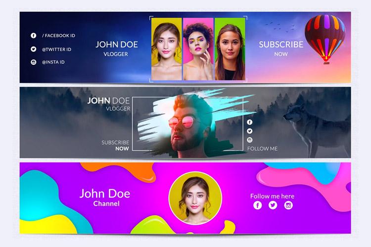 Cool Youtube Channel Art Banner Bundle