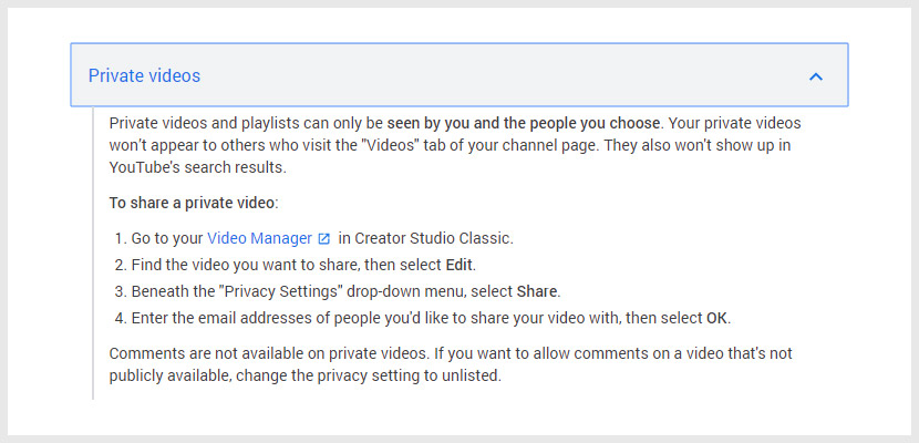 Private Video YouTube Privacy Settings