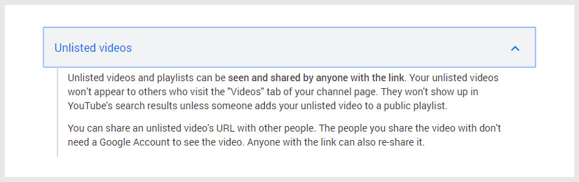 Unlisted Video YouTube Privacy Settings