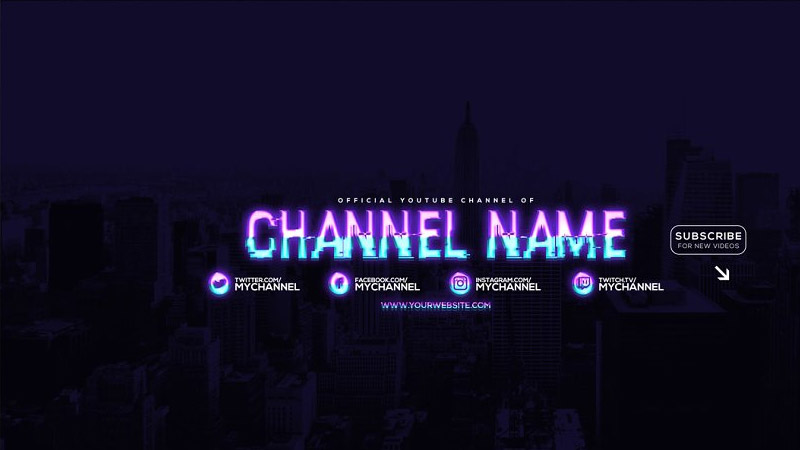 Neon Youtube Channel Art Banners Template