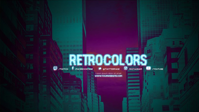 RetroColors Youtube Channel Art Banners Template