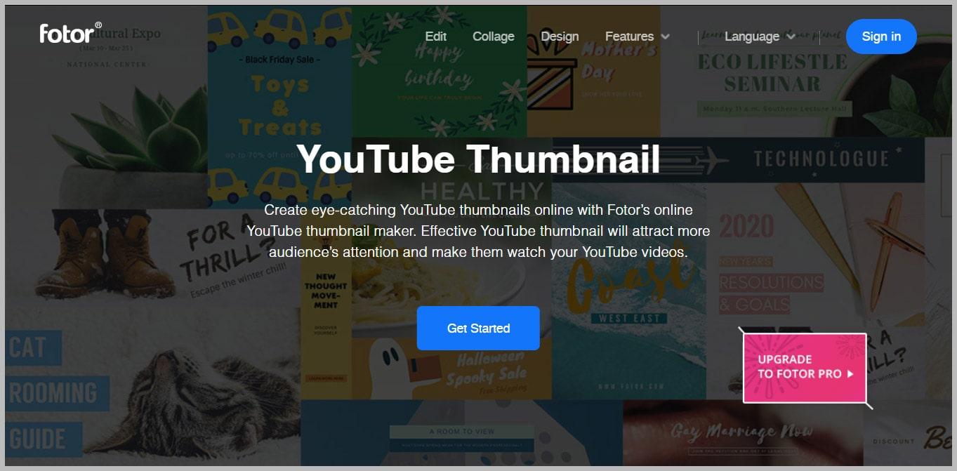 Fotor Online YouTube Thumbnail Maker