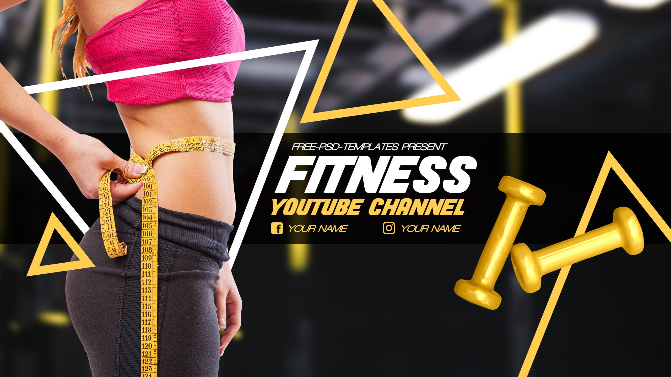 Free Fitness YouTube Banner Template 2560x1440