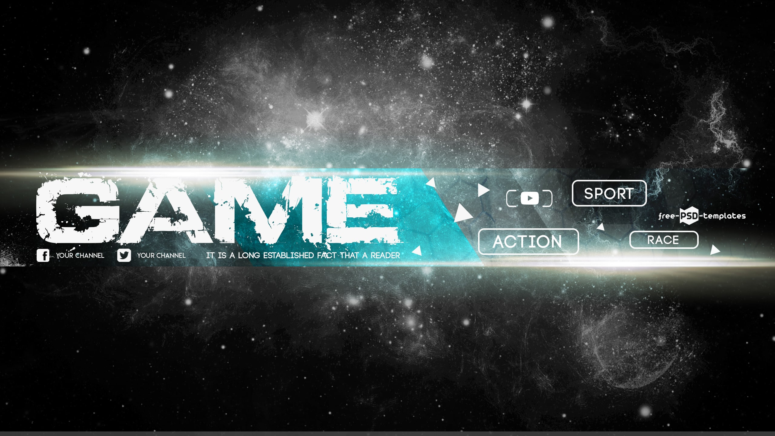 Free Game YouTube Banner Template 2560x1440