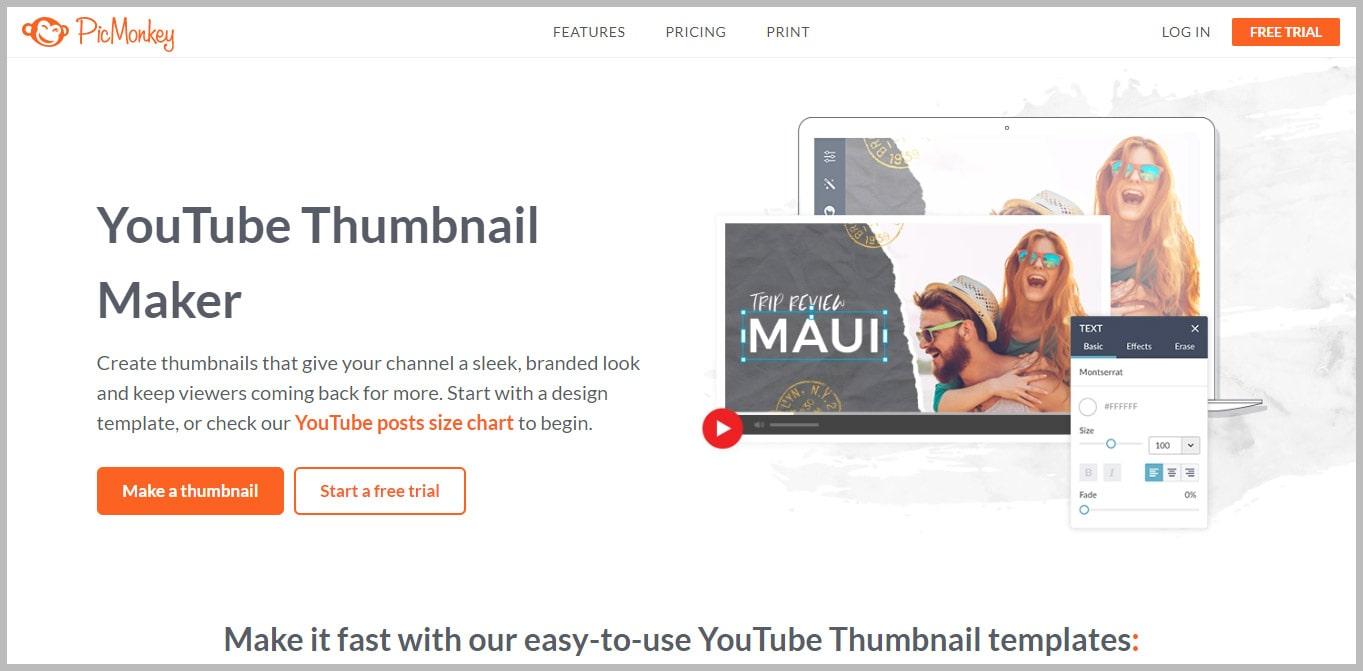 PicMonkey YouTube Thumbnail Maker
