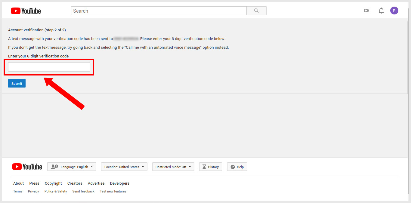 YouTube Account Verification Step-2