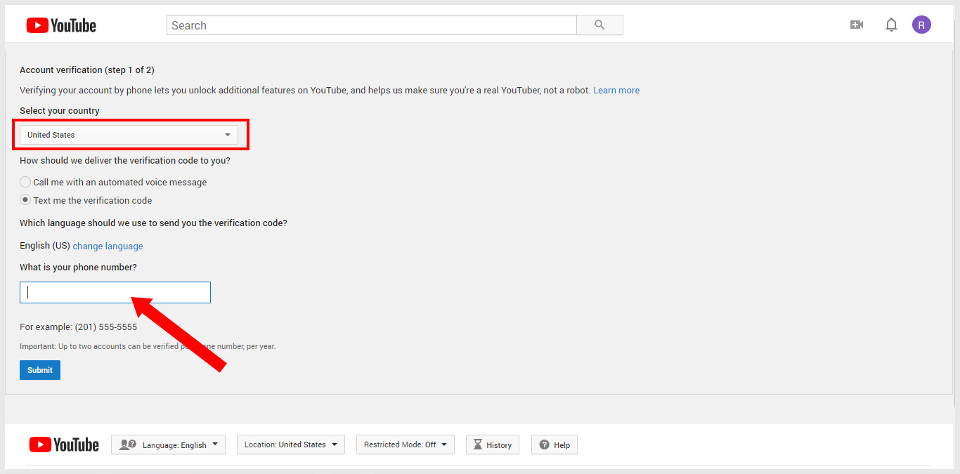 YouTube Account Verification