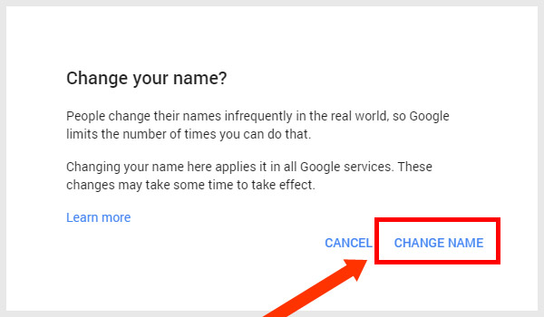 YouTube Name Change Confirmation