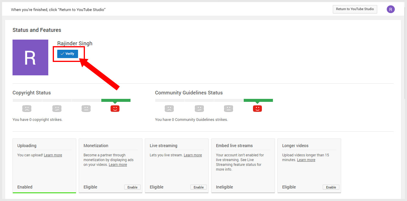 YouTube Status and Features-Settings