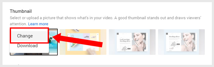 YouTube Thumbnail Change Option
