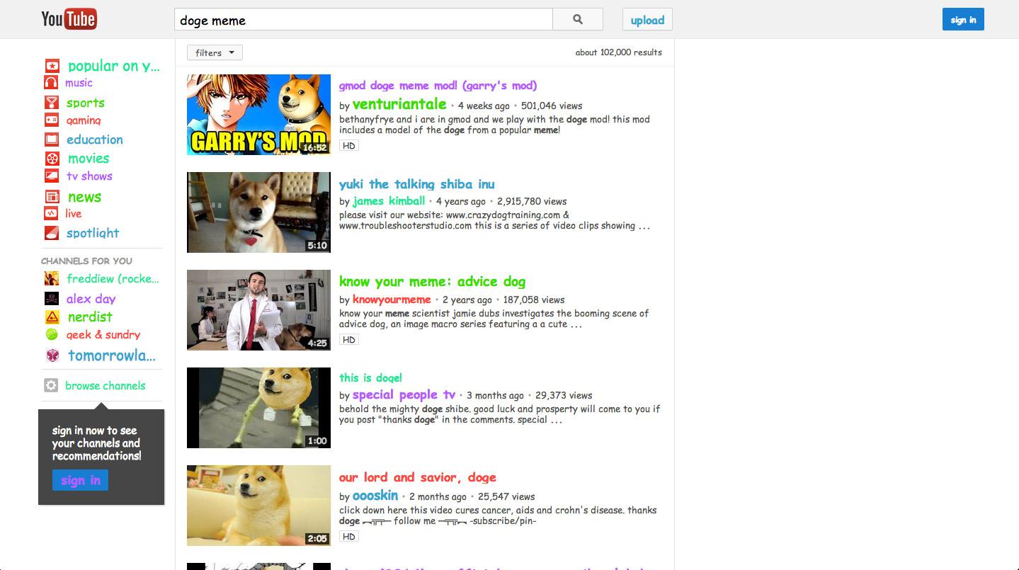 YouTube Doge Meme Easter Eggs