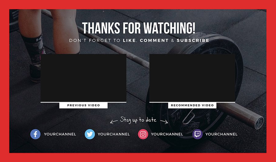 YouTube End Card Template for Fitness Channels