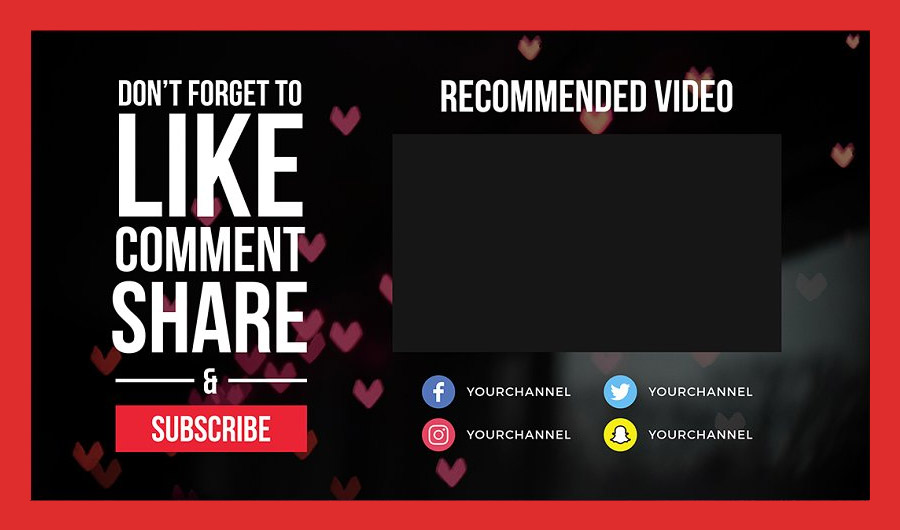 YouTube End Card Template for Personal Channels