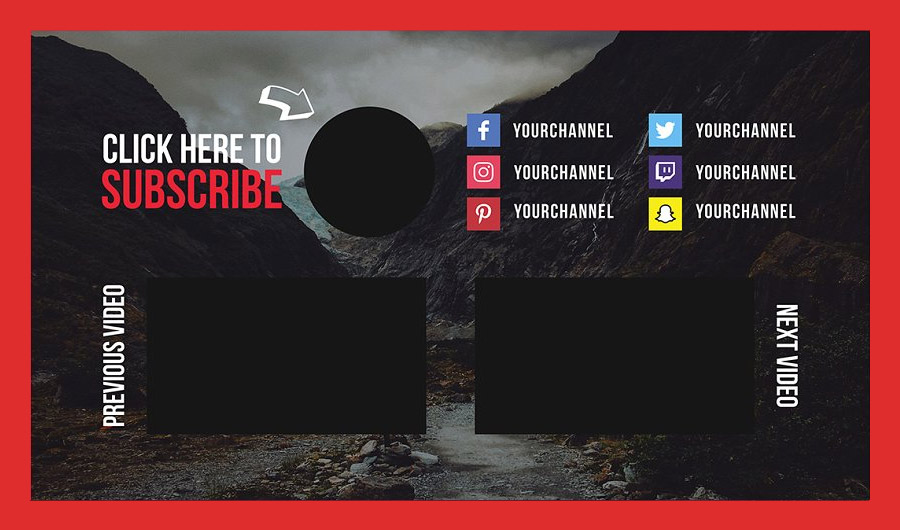 YouTube End Card Template for vlog Channels