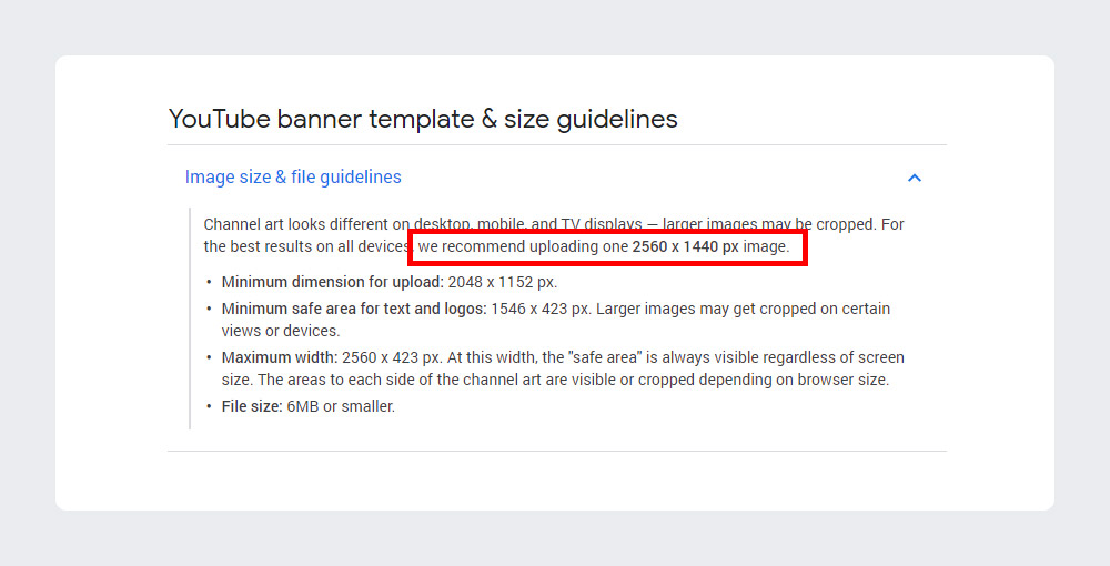 YouTube banner template & size guidelines
