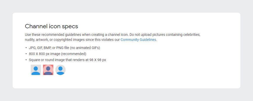 Channel Icon Size