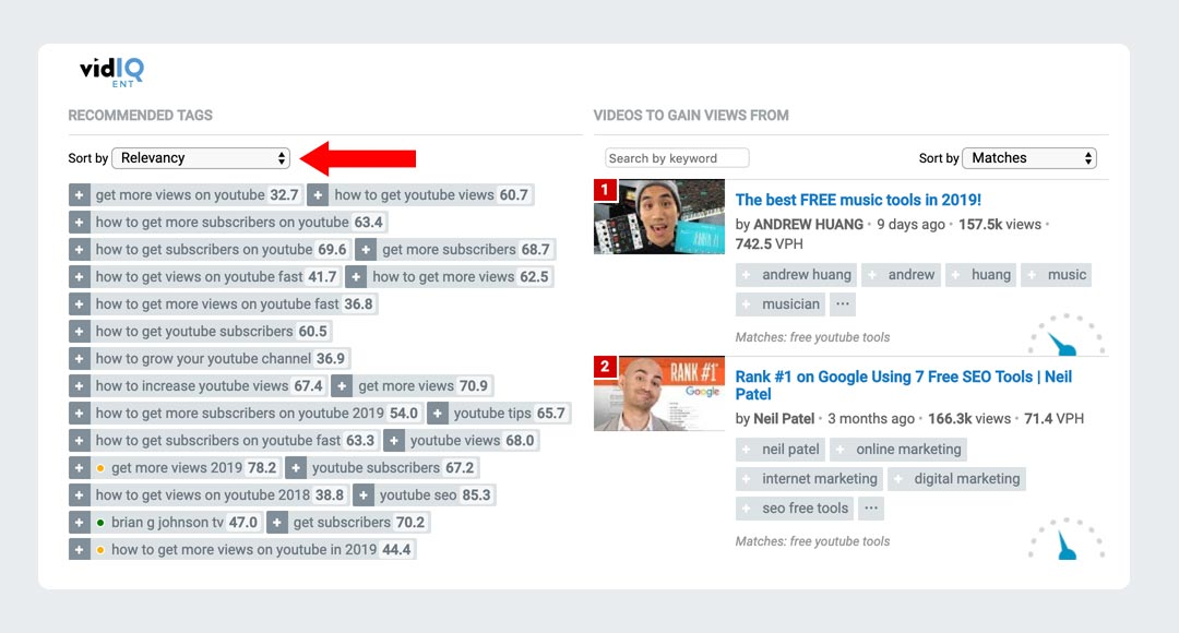 VidIQ YouTube Related Keywords