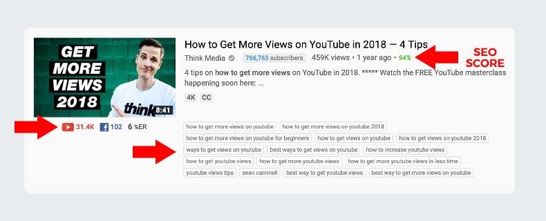 VidIQ YouTube SEO Score