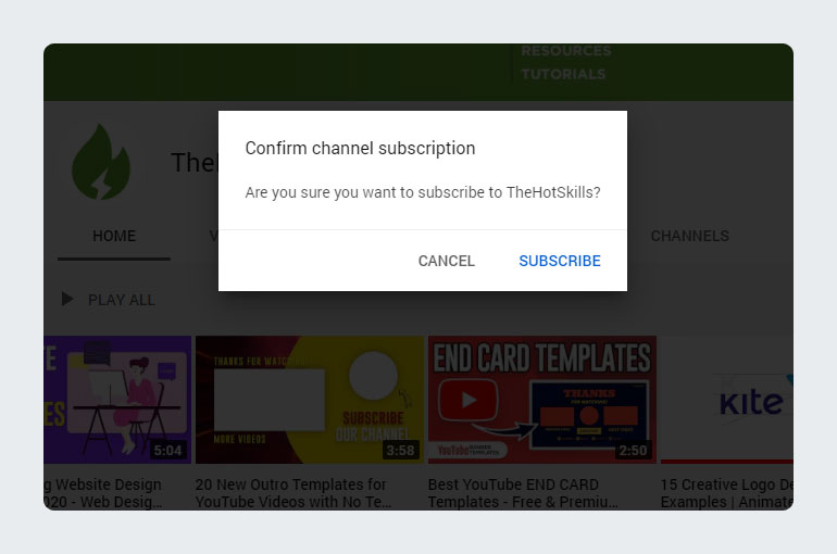 YouTube Subscribe button Link