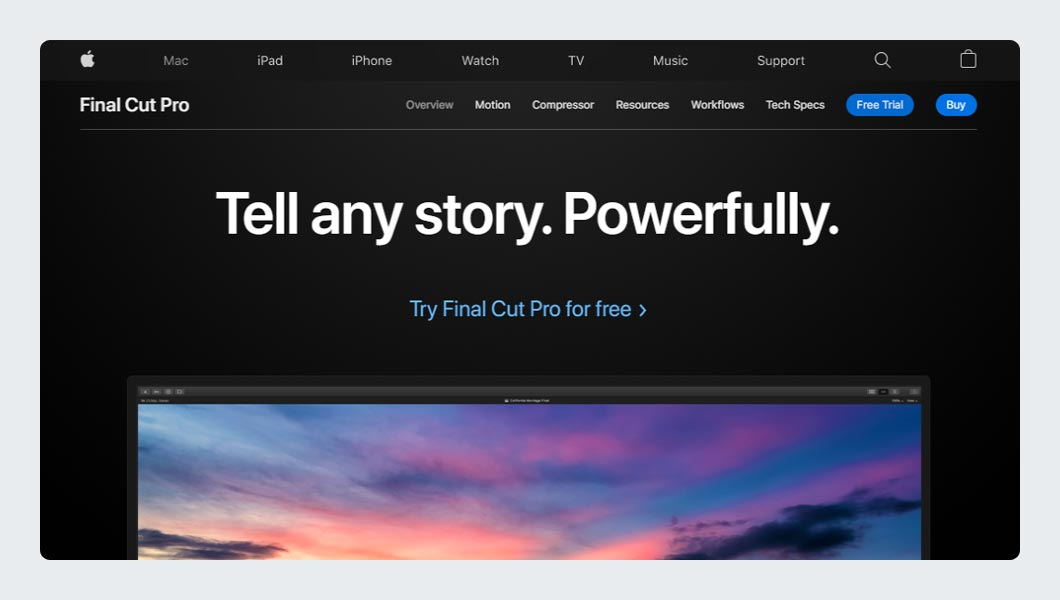 Apple Final Cut Pro X Video Editing Software for Professional