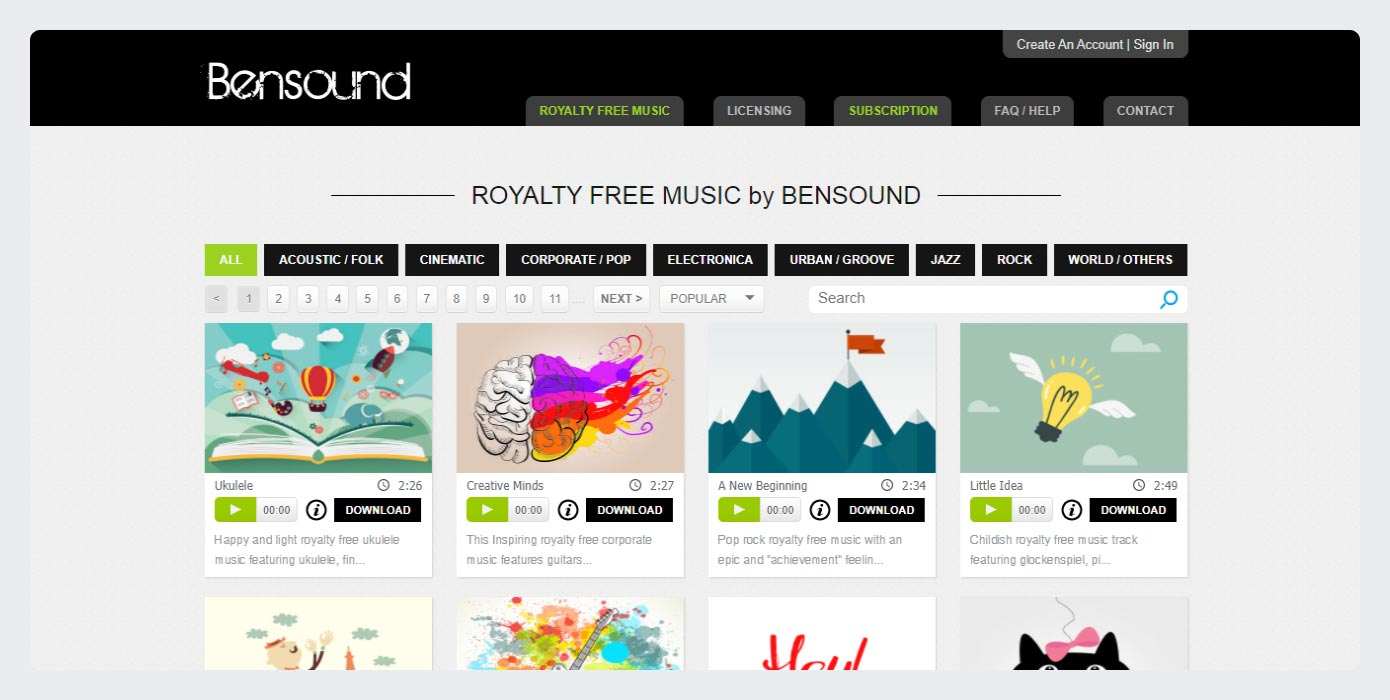 Bensound - royalty free music
