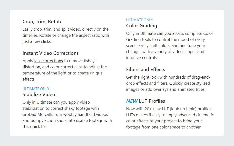 VideoStudio Ultimate Features