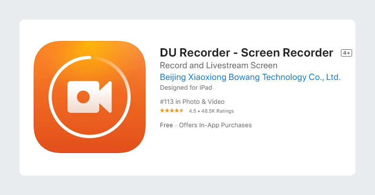 DU Recorder for Mobile Screen Recording iPhone App