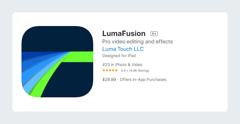 LumaFusion Video Editing App for YouTube Videos