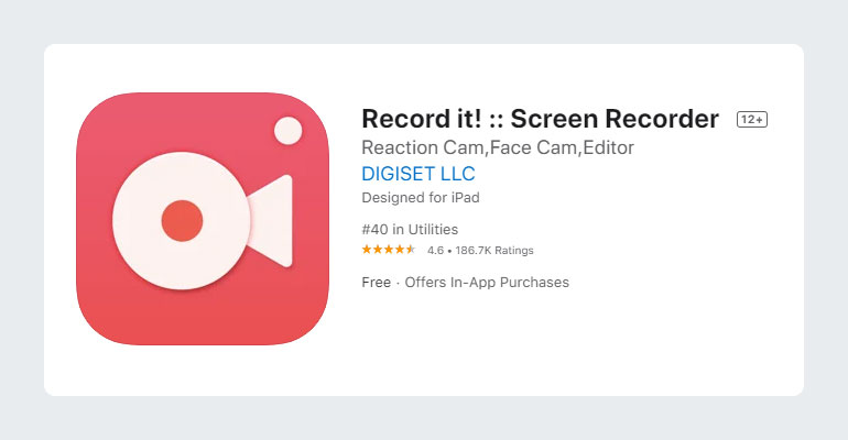Record it - Screen Recorder for Mobile YouTubers iOS App