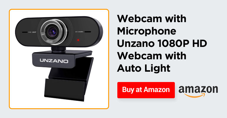 Webcam with Microphone, Unzano 1080P HD Webcam with Auto Light