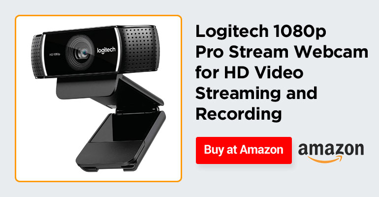 Logitech 1080p Pro Stream Webcam for HD Video Streaming and Recording