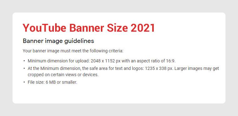 YouTube Banner Image Size 2021